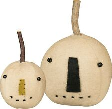 PBK Primitive White Plush Pumpkin Head Set Fall Halloween Decor