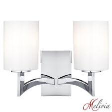 Moderna Lámpara de Pared Cromo Plata Cristal 2x 60w Aplique Elegante
