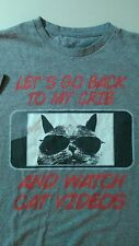 CAT VIDEOS Tee t-shirt Large Gray Back to my crib