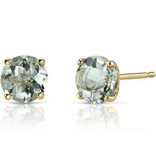 14K 14ct Yellow Gold 1.4 Ct Green Amethyst Stud Earrings Round Cut 6mm