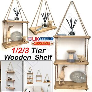 Wooden Hanging Rope Shelf Wall Mounted Floating Shelf Storage Rustic 1/2/3 Tiers