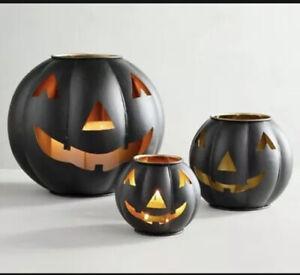 Pottery Barn Metal Jack O' Lantern Pumpkin Candle Holder Size Small And Mini