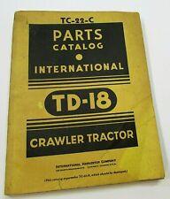 1965 International Harvester Td 18 Crawler Tractor Part Catalog Tc 22 C Free Sh