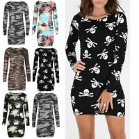 Womens Mini Dress Ladies Printed Jersey Stretchy Round Neck Long Sleeve Bodycon