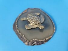 Pewter Sea Turtle Floating on Gray Agate