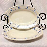 Blue Star Oval Appetizer Plates Restaurant Ware Buffalo China VTG Set of 2