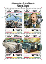 Guinea 2018 MNH Henry Royce Rolls-Royce Silver Cloud 4v M/S Cars Aviation Stamps