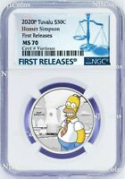2020 Homer Simpson Colored 1/2oz .9999 Silver Half Dollar COIN NGC MS70 FR