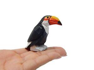 Toucan Bird Figurine Statue Tropical Yellow Beak Decor Miniature Sculpture Art