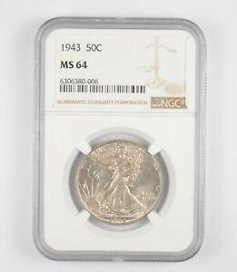 1943 MS64 Walking Liberty Half Dollar - Graded By NGC - Choice Unc *234