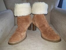 Genuine tan sheepskin lined mid high boots Size EU 42 UK 7.5i  great condition *