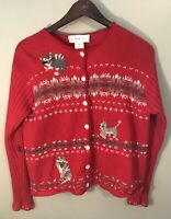 Susan Bristol Cat Ugly Christmas Sweater Cardigan Red M
