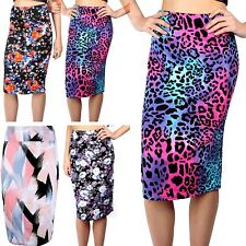 Womens Ladies Floral Stretch High Waist Printed Wiggle Tube Bodycon Midi Skirt