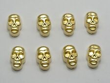 100 Gold Tone Metallic Acrylic Skull Studs 12X7mm No Hole for Cell Phone Deco