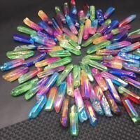 Large A Lot Of Titanium Rainbow Aura Lemurian Quartz Crystal Point Healing 100g