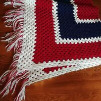 "Handmade Crochet Afghan Chevron Pattern Patriotic Quilt Blanket 54"" X 48"" Bed"