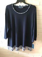New Karen Scott Woman's Scoop Neck Knit Top  Blue w Trim  Plus Sizes  X4