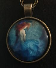 MERMAID Necklace NEW Domed Cabochon w/ chain (C) Red Head