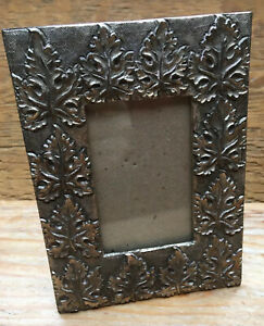 Vintage Metal Picture/Photo Frame By Barron/Pewter Or Silver Tone Leaf Design