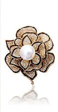 18K GOLD PLATED & GENUINE AUSTRIAN CRYSTAL,  WHITE PEARL & BLACK ENAMEL BROOCH