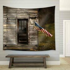 wall26 - American Flag Hanging from an Old Barn - Fabric Wall Tapestry - 68x80