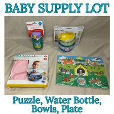 New Baby Supply Lot- Includes Bowls Plates Water Bottle & Puzzle *Same Day Ship*