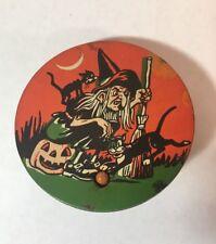 Vintage U.S. Metal Toy Mfg. Co. Halloween Metal Noisemaker Witch Black Cat Moon