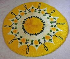 """Hand hooked yellow round rug, circa 1960s in original condition, 36"""" in diameter"""