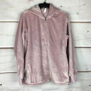 Ideology Faux-Fur Quarter-Zip Hoodie Womens Size Medium Solid Pink Long Sleeve