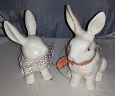 Vintage Pair of White Ceramic Bunny Rabbit Planter Vases