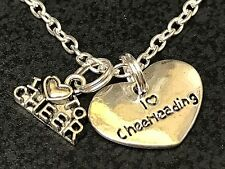"Cheerleader Love to Cheer Heart Charm Tibetan Silver 18"" Necklace"