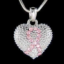 w Swarovski Crystal ~Pink Breast Cancer Awareness Ribbon~ Puffed Heart Necklace