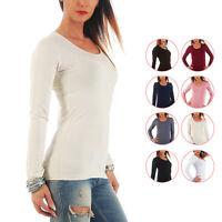 Mellice - Damen Langarm Shirt U-Neck T-Shirt Top Body