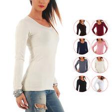 Mellice - Damen Langarm Shirt U-Neck T-Shirt Top Body