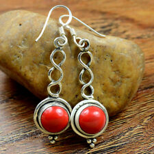 Silver Red Coral Gemstone Round Solid Earring Jewelry New Year Gift