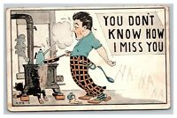 Vintage 1913 Comic Postcard - Wife is Away - Frazzled Husband Cooking - Funny
