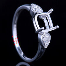 14K White Gold Diamond Pave Setting Wedding Fine Ring Semi Mount Setting Cushion