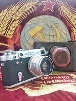 Soviet USSR FED2 35mm camera Leica copy Industar-26 lens M39 mount1960s!√810416