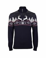 NEW! DALE OF NORWAY  MEN'S 100% MERINO WOOL CHRISTMAS SWEATER  NAVY BLUE