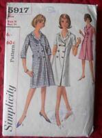 """VINTAGE 1960'S SIMPLICITY SEWING PATTERN 5917 LADIES COAT DRESS 14 34"""""""
