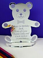 Personalised Teddy Bear Christening, Birthday or own message Gift for Boy/Girl