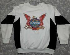 Vtg Harley Davidson Usa Eagle Seal 3D Emblem Raglan Sweatshirt 2-tone Blk/Wht M
