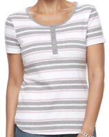 CROFT & BARROW Womens Henley Classic Tee T-Shirt Top Size XXL Pink White  NWT