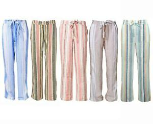 M&S Marks and Spencer Linen Striped Trousers Plus Size to 32