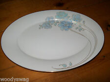 Noritake Blue and Gold 7703 Oval Serving Platter Vintage retro Mid-Century