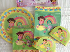 DORA THE EXPLORER 40 PIECE BIRTHDAY PARTY PACK PLATES CROWNS BAGS NAPKINS