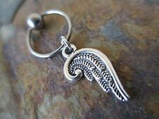 """Silver Angel Wing Cartilage Piercing Captive Ring Tragus Earring 14G 1.6mm 1/2"""""""
