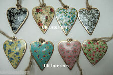 Set of 8 Vintage Floral Ditsy Flower Hanging Heart Metal Shabby Chic Decorations