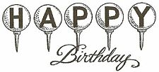Golf Tee Happy Birthday Wood Mounted Rubber Stamp NORTHWOODS NEW D9800