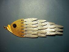 Fish Motif Pendant- Brass & Base Metal- Black Plastic Bead Eye - 1970's